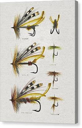 Fly Fishing Flies Canvas Print by Aged Pixel