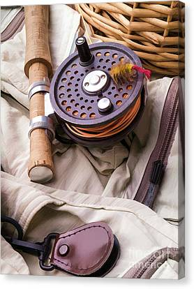 Fly Fishing Still Life Canvas Print by Edward Fielding