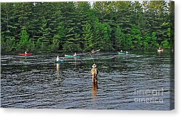 Fly Fishing West Penobscot River Maine Canvas Print by Glenn Gordon
