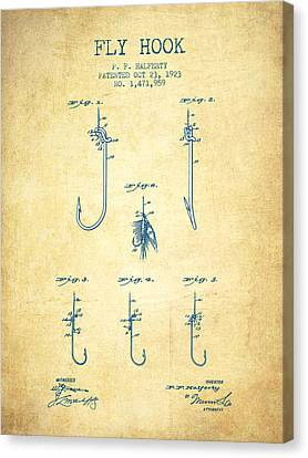 Fly Hook Patent From 1923 - Vintage Paper Canvas Print by Aged Pixel