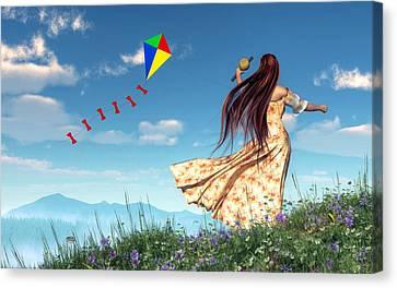Flying A Kite Canvas Print by Daniel Eskridge