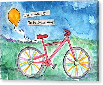 Flying Away- Bicycle And Balloon Painting Canvas Print by Linda Woods