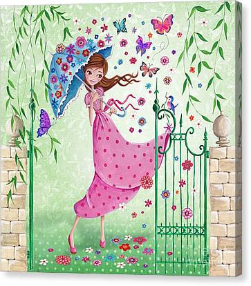 Flying Flowers Canvas Print by Caroline Bonne-Muller