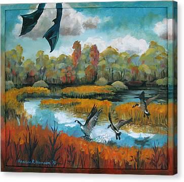 Flying Geese Feet Canvas Print by Art Nomad Sandra  Hansen
