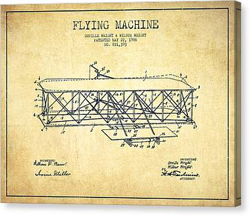 Flying Machine Patent Drawing From 1906 - Vintage Canvas Print by Aged Pixel