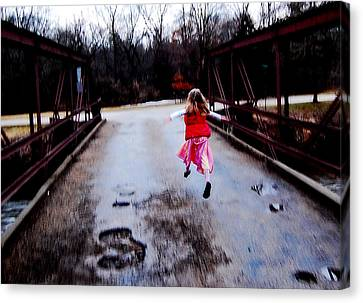 Flying On The Bridge Canvas Print by Jon Van Gilder