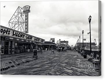 Flying Over The Boardwalk Mono Canvas Print by John Rizzuto
