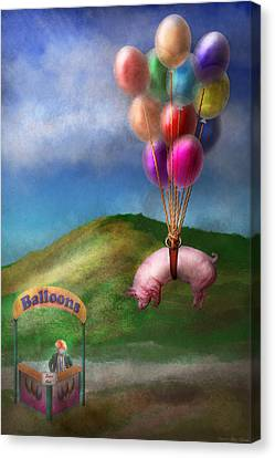 Flying Pig - Child - How I Wish I Were A Bird Canvas Print by Mike Savad