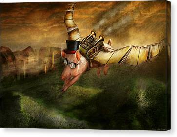 Flying Pig - Steampunk - The Flying Swine Canvas Print by Mike Savad