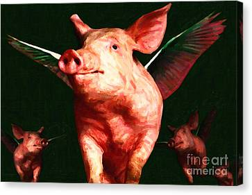 Flying Pigs V1 Canvas Print by Wingsdomain Art and Photography