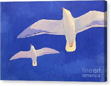 Flying Seagulls Canvas Print by Lutz Baar