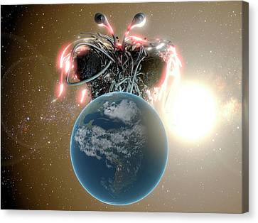 Flying Spaghetti Monster And Earth Canvas Print by Christian Darkin