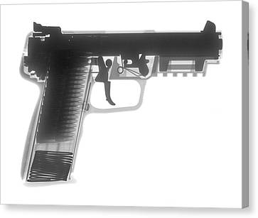 Fn 57 Hand Gun X-ray Photograph Canvas Print by Ray Gunz