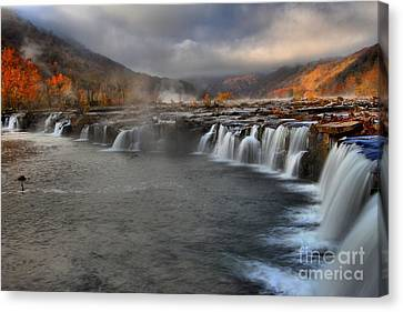 Fog In The Sandstone Falls Valley Canvas Print by Adam Jewell