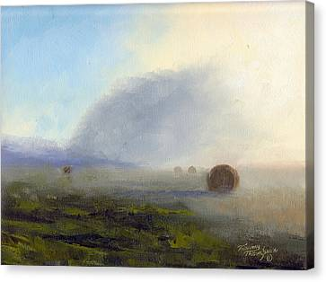 Foggy Bales Canvas Print by Tommy Thompson
