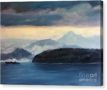 Foggy Day In Anacortes Canvas Print by Eve McCauley