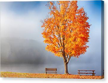 Foggy Fall Morning On Joe's Pond Canvas Print by Jeff Folger