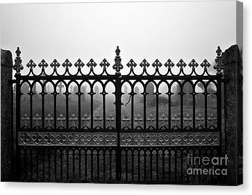 Foggy Grave Yard Gates Canvas Print by Terri Waters