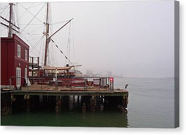 Foggy Harbor Canvas Print by John Collins