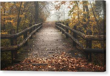 Foggy Lake Park Footbridge Canvas Print by Scott Norris