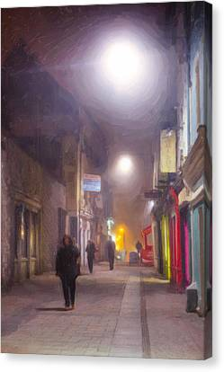 Foggy Night In The Heart Of Galway Canvas Print by Mark E Tisdale