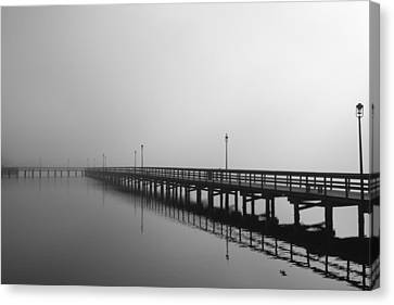 Foggy Pier Canvas Print by Kimberly Oegerle