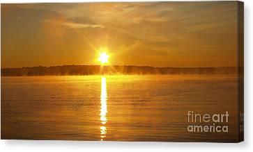 Foggy Sunrise Over Manhassett Bay Canvas Print by John Telfer