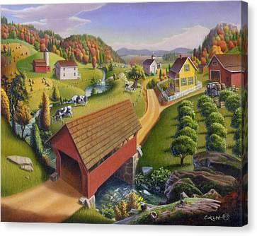 Folk Art Covered Bridge Appalachian Country Farm Summer Landscape - Appalachia - Rural Americana Canvas Print by Walt Curlee