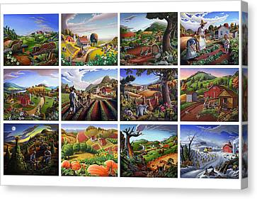 Folk Art Seasonal Seasons Sampler Greetings Rural Country Farm Collection Farms Landscape Scene Canvas Print by Walt Curlee