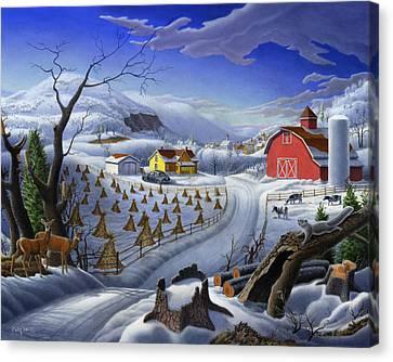 Folk Art Winter Landscape Canvas Print by Walt Curlee