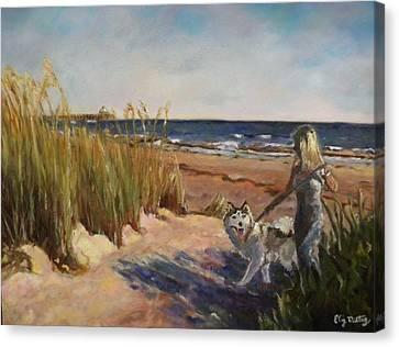 Folly Beach Dog Walk Canvas Print by Liz Dettrey