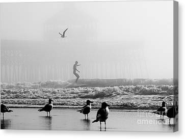 Folly Beach Pier Foggy Day Surf Canvas Print by Dustin K Ryan