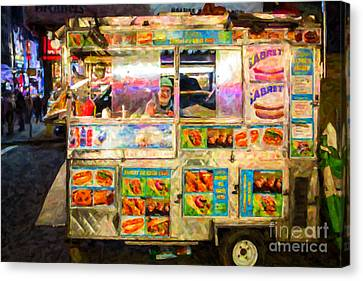 Food Cart In New York City Canvas Print by Diane Diederich