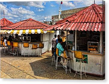 Food Counters Canvas Print by Linda Phelps