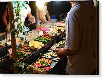 Food Vendors - Night Street Market - Chiang Mai Thailand - 011314 Canvas Print by DC Photographer