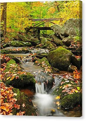 Foot Bridge- Macedonia Brook State Park Canvas Print by Thomas Schoeller