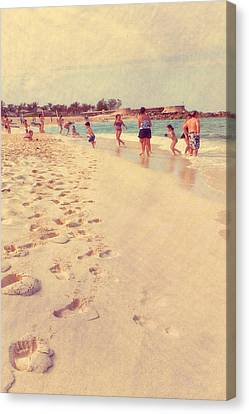 Foot Steps To Beach Fun Canvas Print by Susan Stone