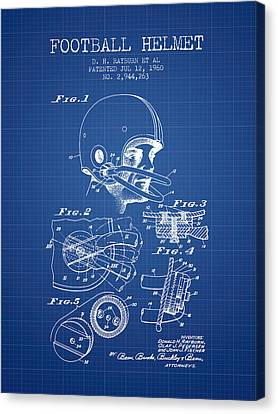 Football Helmet Patent From 1960 - Blueprint Canvas Print by Aged Pixel