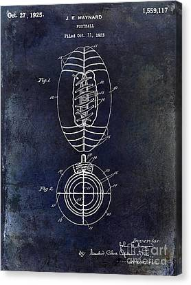 1925 Football Patent Drawing Blue Canvas Print by Jon Neidert
