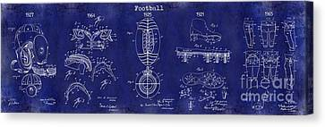 Football Patent History Blue Canvas Print by Jon Neidert