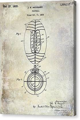 1925 Football Patent Drawing Canvas Print by Jon Neidert