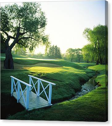 Footbridge In A Golf Course, Inverness Canvas Print by Panoramic Images