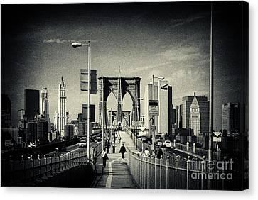 Footpath Over Brooklyn Bridge New York City Canvas Print by Sabine Jacobs