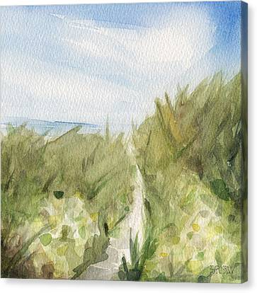 Footpath Through Dunes Cape Cod Beach Painting Canvas Print by Beverly Brown Prints
