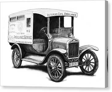 Ford 1923 Civil Ambulance Car Drawing Poster Canvas Print by Kim Wang