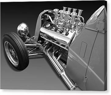 Ford Coupe Hot Rod Engine In Black And White Canvas Print by Gill Billington