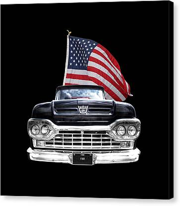 Ford F100 With U.s.flag On Black Canvas Print by Gill Billington