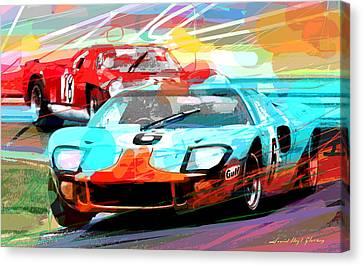 Ford Gt 40 Leads The Pack Canvas Print by David Lloyd Glover