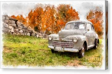 Ford Superdelux 1946 Sedan Coupe Canvas Print by Edward Fielding