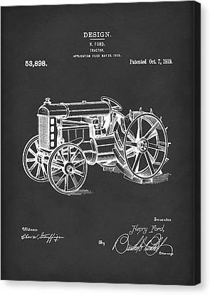 Ford Tractor 1919 Patent Art Black Canvas Print by Prior Art Design